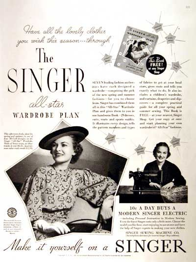 Rather valuable Singer sewing vintage ads with