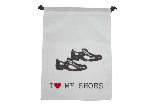 SACCHETTO NYLON SCARPE UOMO. Sacchetto nylon per scarpe uomo di colore bianco con disegno di scarpe e scritta