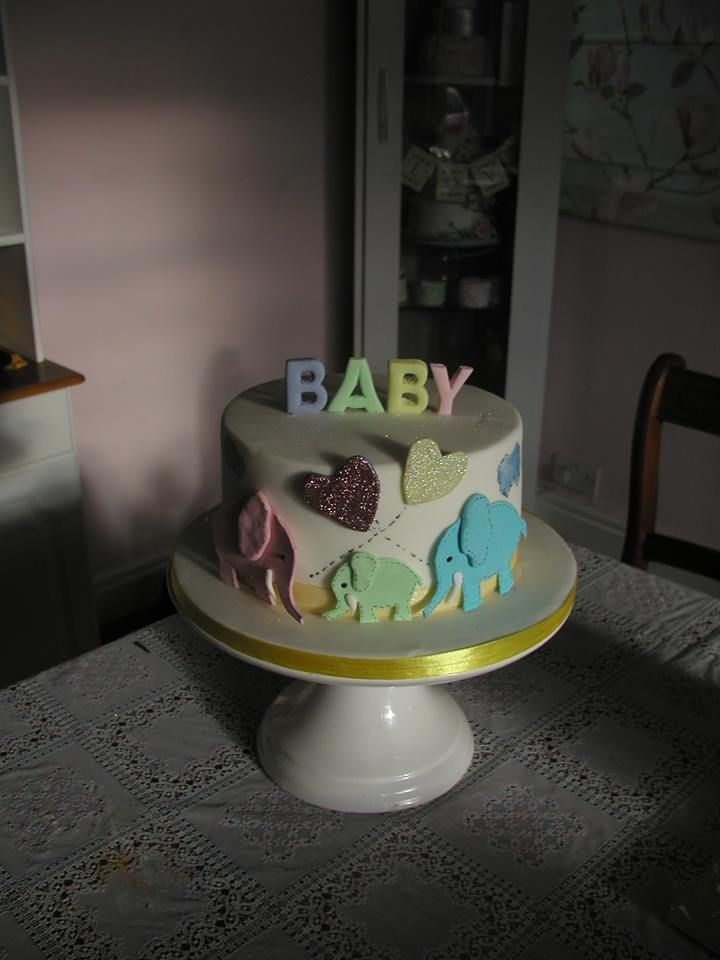 Baby shower christening cake elephant
