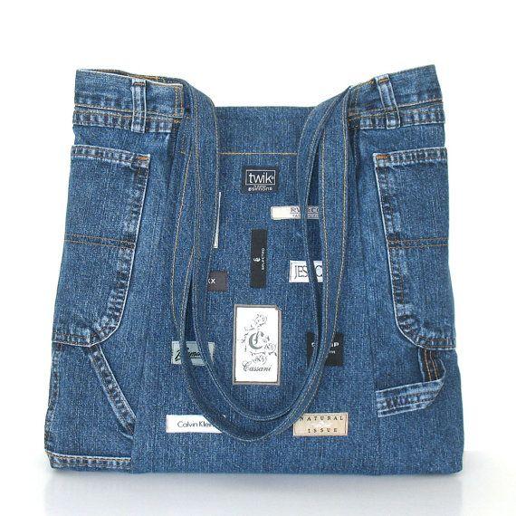 Bolso de jean reciclado grande hecho a mano recuperada por Sisoi                                                                                                                                                      Más