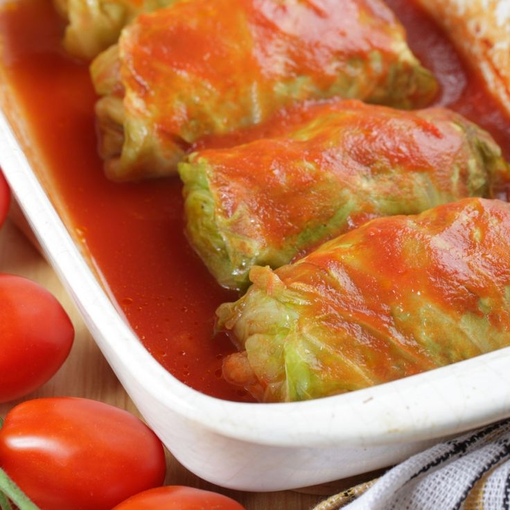 This is a variation of cabbage rolls will a pork and rice filling, coated with a tasty tomato sauce.