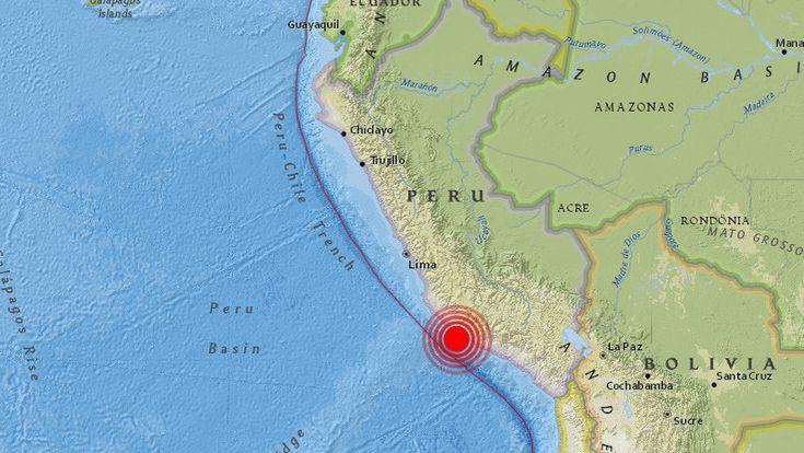 El epicentro del terremoto se ha localizado frente a la costa peruana, a 10 kilómetros de profundidad.