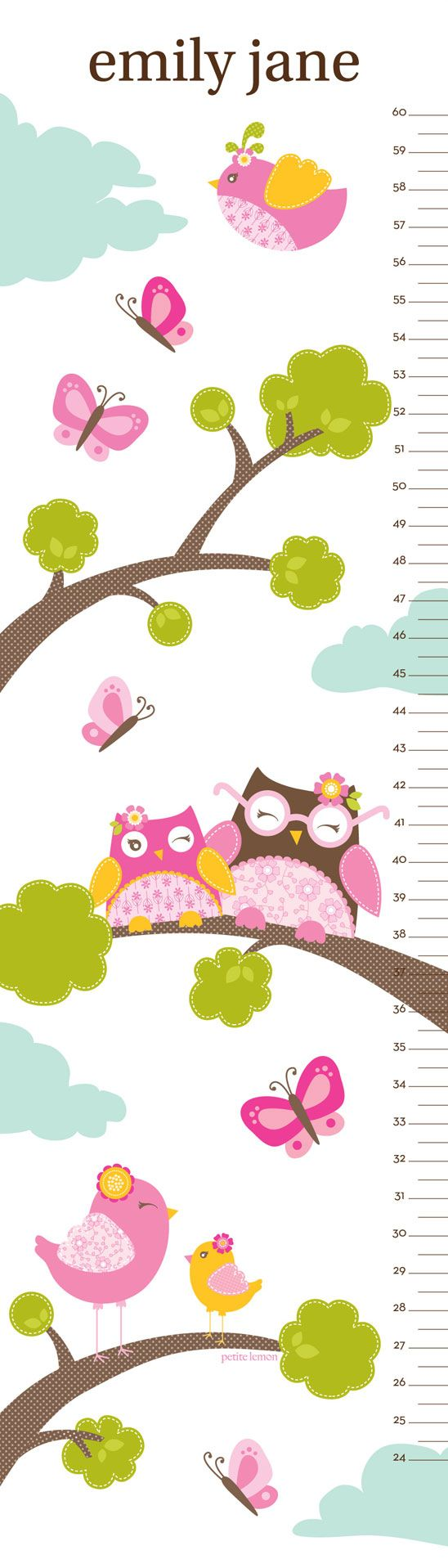 20 best medidores para nios images on pinterest for kids bird owl personalized growth chart by petite nvjuhfo Gallery