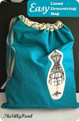 Easy drawstring bag tutorial.  Gonna use this to make bags for legos, floor…