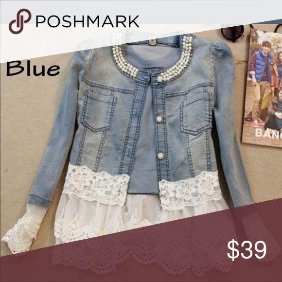 Denim Jacket PRETTY!! PRETTY!! PRETTY!!. LADIES Denim Pearl Lace Splice JEAN Jacket!!  BRAND NEW AND NEVER WORN!  (116~5381) Jackets & Coats Jean Jackets