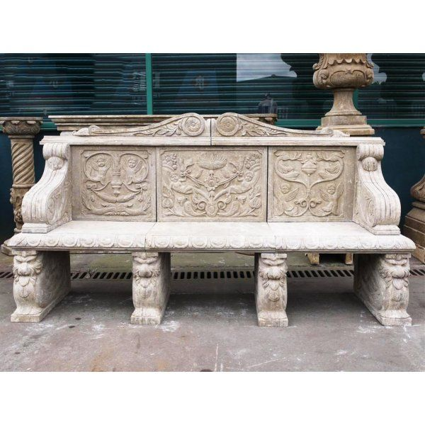 Buy Hand Carved Stone Bench | Large Natural Stone Bench | Swanky Interiors