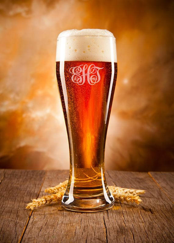 Laser Engraved Beer Glass, Personalized Beer Glass, Monogram. Fill this beer glass with 21oz of your favorite beer. Engraved with a interlocking monogram, whoever receives this beer glass will never confuse their glass with anyone else's. Our beer glasses are thick and durable, made to withstand daily use.