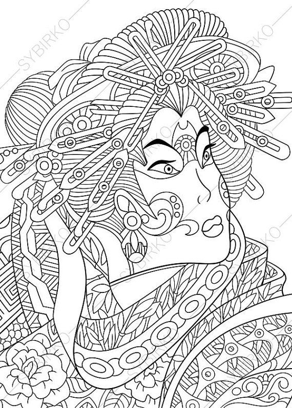Japanese Geisha Coloring Page Adult By ColoringPageExpress