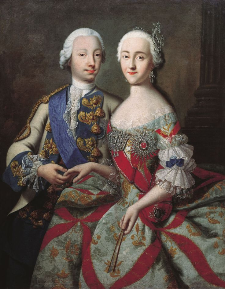 August 21, 1745: Peter III, aged 17, married  Catherine II, aged 16. The marriage was political and organized by Empress Elizabeth.