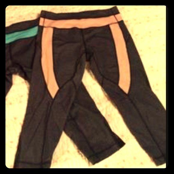 90 degree by Reflex workout Capri Capri workout pant with peachish-orangish trim. 90 Degree by Reflex Pants Capris