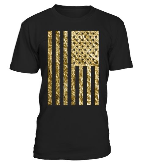 # American Flag Gold Foil Vertical .  American flag t-shirts with gold foil effect