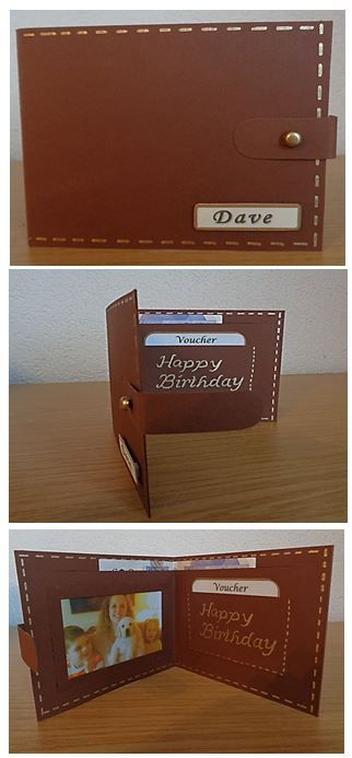 Wallet - father's day card or birthday card for dad, brother, uncle or boyfriend. Voucher card or money gift card.