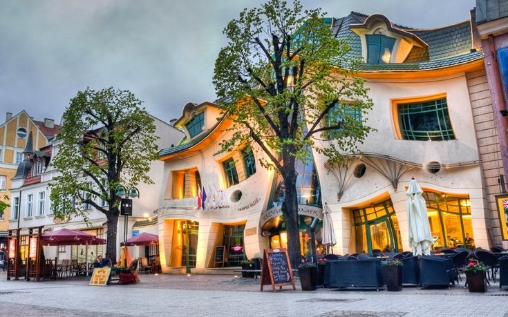 Crooked House, Sopot, Poland    The three storey Crooked House was designed by Polish architect Szotynscy Zaleski and inspired by Jan Marcin Szancer's fairytale illustrations and the art of Per Dahlberg. It's become the country's most photographed building.