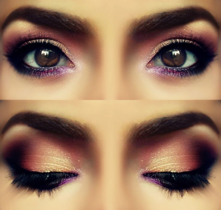 Makeup for brown eyes, rose petal color, smokey sparkling eyes makeup