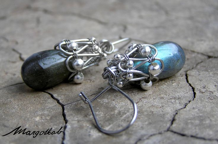 Labradorite earrings, wire-wrapping. Crafted by margotkab
