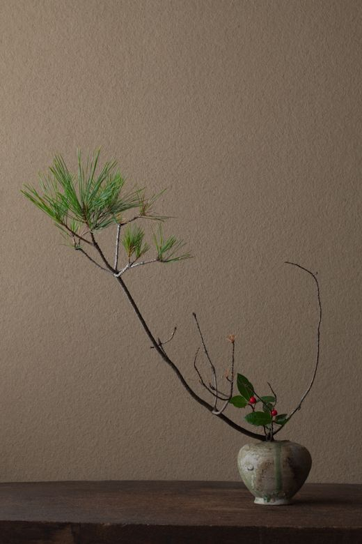 2012年1月1日(日)   よい年でありますように。  花=松(マツ)、藪柑子(ヤブコウジ)  器=猿投小壺(平安時代)