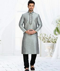 Buy Gray Dupion Readymade Kurta With Churidar 73827 online at lowest price from…