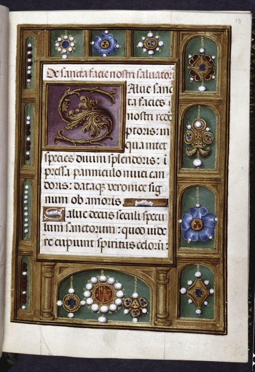 Opening of main text, border design of pendant jewels, beads, and a pearl-encrusted jewel with the symbols of the Passio... (1500-1515)