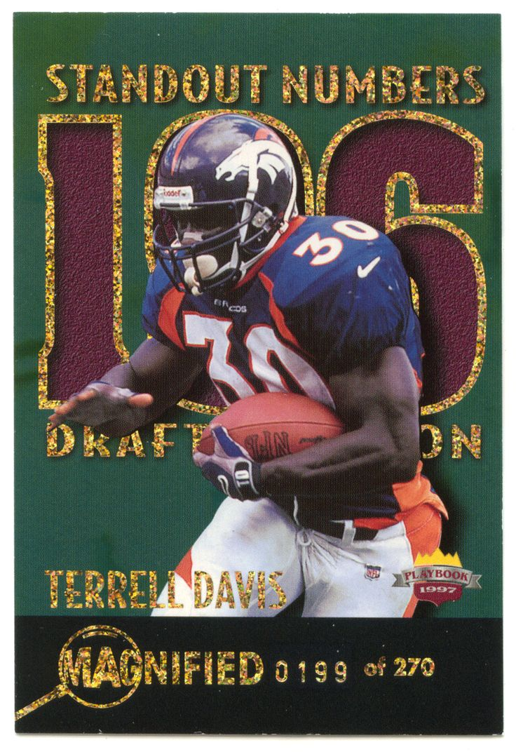 Terrell Davis # SN 30 - 1997 Score Board Playbook By The Numbers Football - Red Zone Stats Magnified Silver