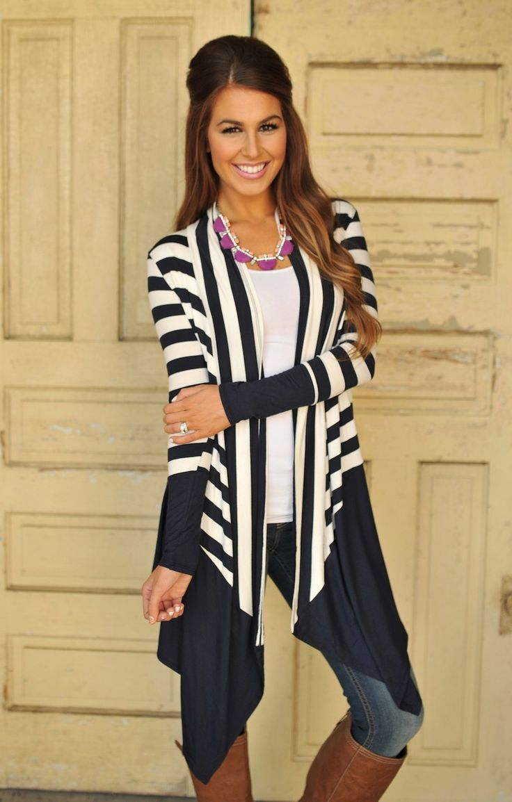 Dottie Couture Boutique - Long Striped Cardigan- Navy , $36.00 (http://www.dottiecouture.com/long-striped-cardigan-navy/)
