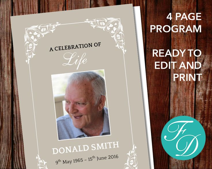 Funeral program template, order of service, memorial programs, memorial service (Flora) by FuneralDesigns on Etsy
