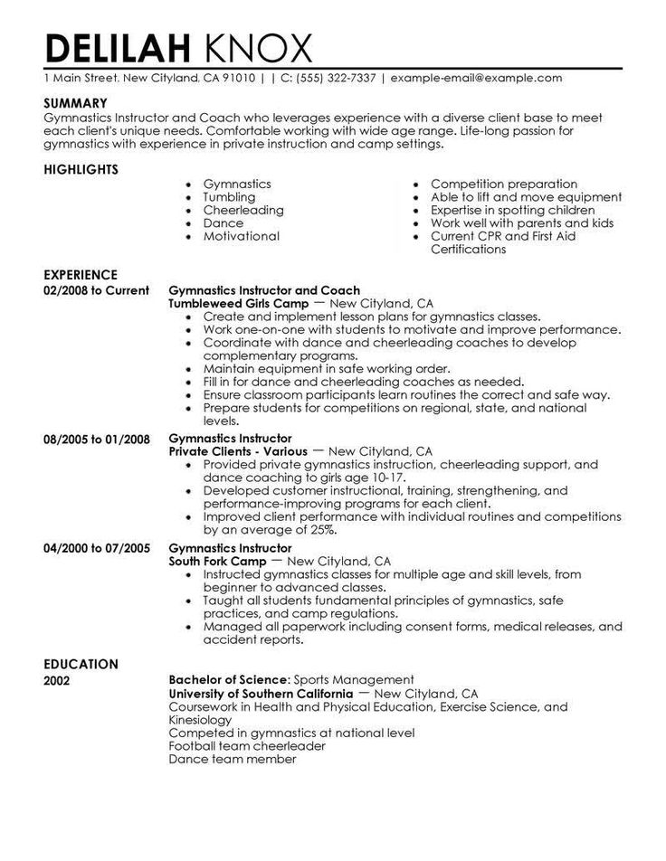 Gymnastic Instructor Resume Example - http://resumesdesign.com/gymnastic-instructor-resume-example/