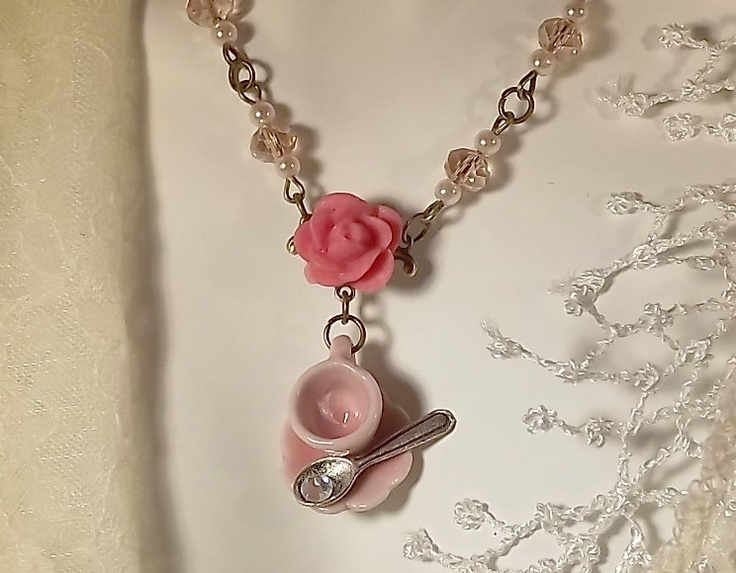 Romantic, Pink Rose, Pink Pearl, Pink Crystal, Tea Cup, Tea Time Necklace. $20.00, via Etsy.