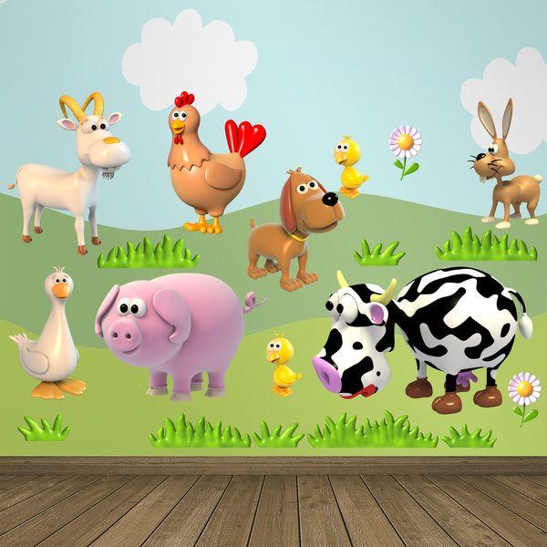 Adesivi per bambini: Kit animali la fattoria. Adesivi murali bambini a kit. #adesivimurali #decorazione #modelli #mosaico #cabra #gallina #cane #pollo #coniglio #anatra #maiale #mucca #StickersMurali