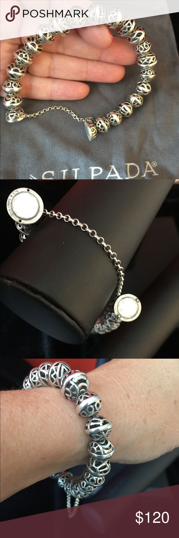 Silpada Designs Hemisphere Bracelet Very pretty Silpada Designs Sterling Bracelet.  Has a very strong magnetic clasp, with a safety chain. Beads are 12mm and have Filigree pattern. Layers well with other bracelets-  a great piece! Silpada Jewelry Bracelets
