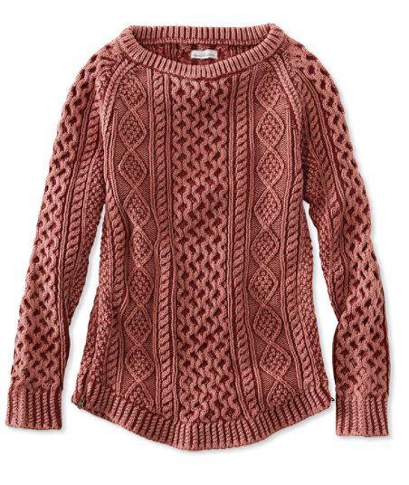 Signature Cotton Fisherman Tunic Sweater, Washed