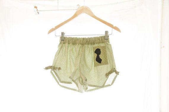 Jane Austen Themed Pyjama Shorts~Women's Sleepwear Boxers Loungewear Pajamas Pyjamas Pjs mint stripes, green spot pride and prejudice emma/www.etsy.com
