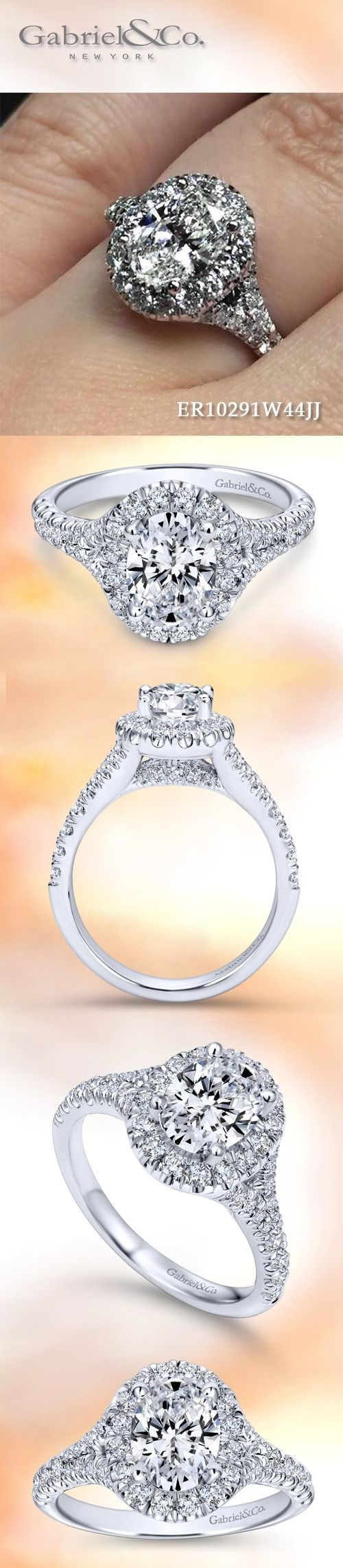 Gabriel & Co.-Voted #1 Most Preferred Fine Jewelry and Bridal Brand.  Want to feel like a Kennedy? This 14k White Gold Oval Halo Engagement Ring comes to life with its' bold and beautiful halo setting while our alluring band shines ever so brightly.