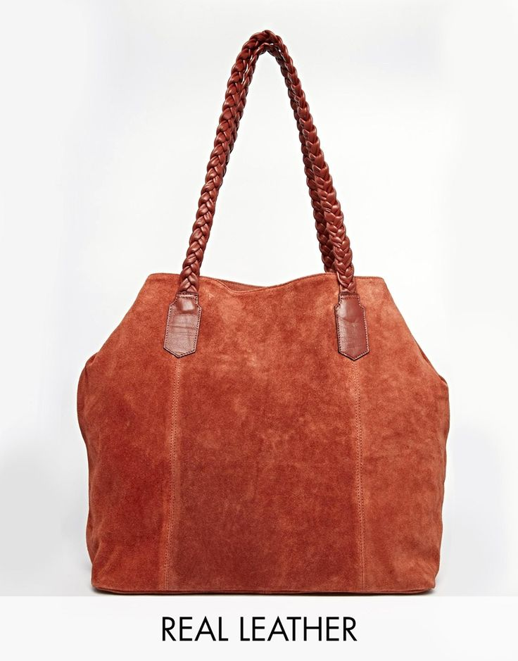 ASOS Suede Shopper Bag With Plaited Strap
