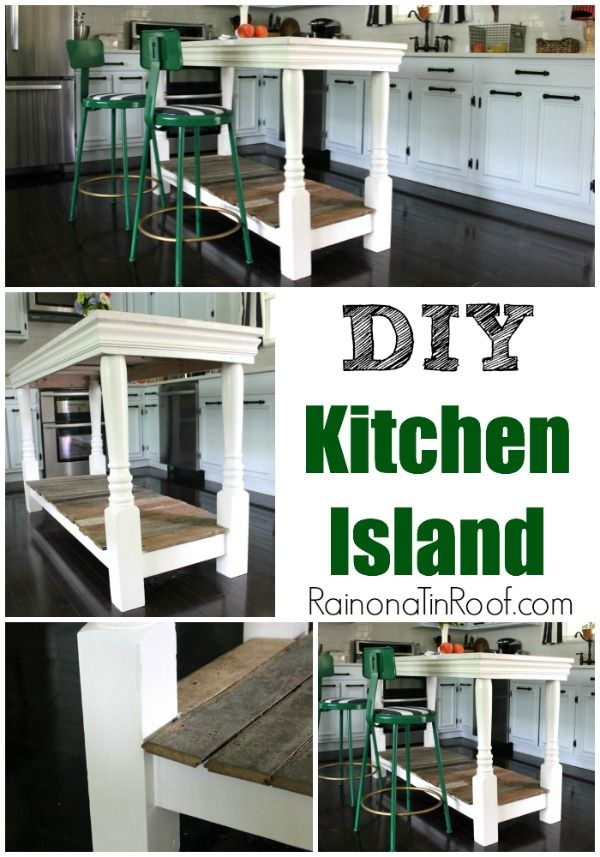 This island is unbelievable! Minus the countertop, it cost less than $100! Its a bit rustic, but could work in so many different kitchens! DIY Kitchen Island via RainonaTinRoof.com