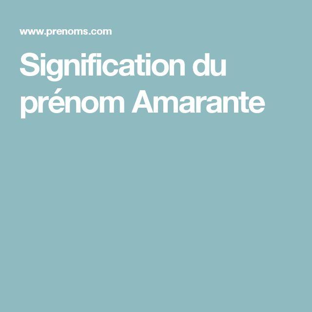 Signification du prénom Amarante