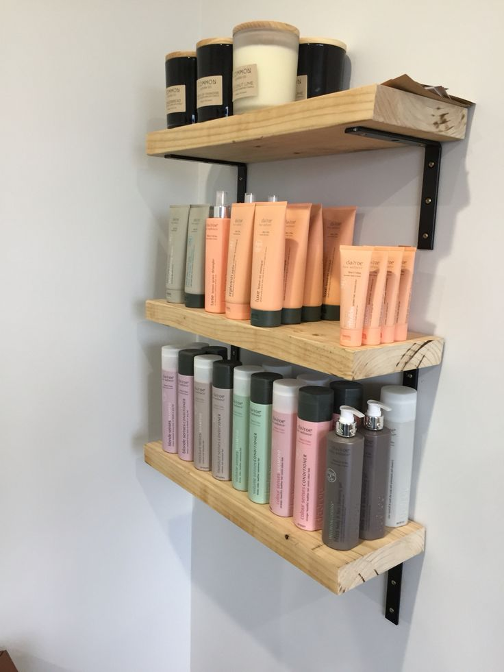 Recycled timber shelves built from large pallet crate pine. Perfect for showcasing stock. #one_hairy_lady