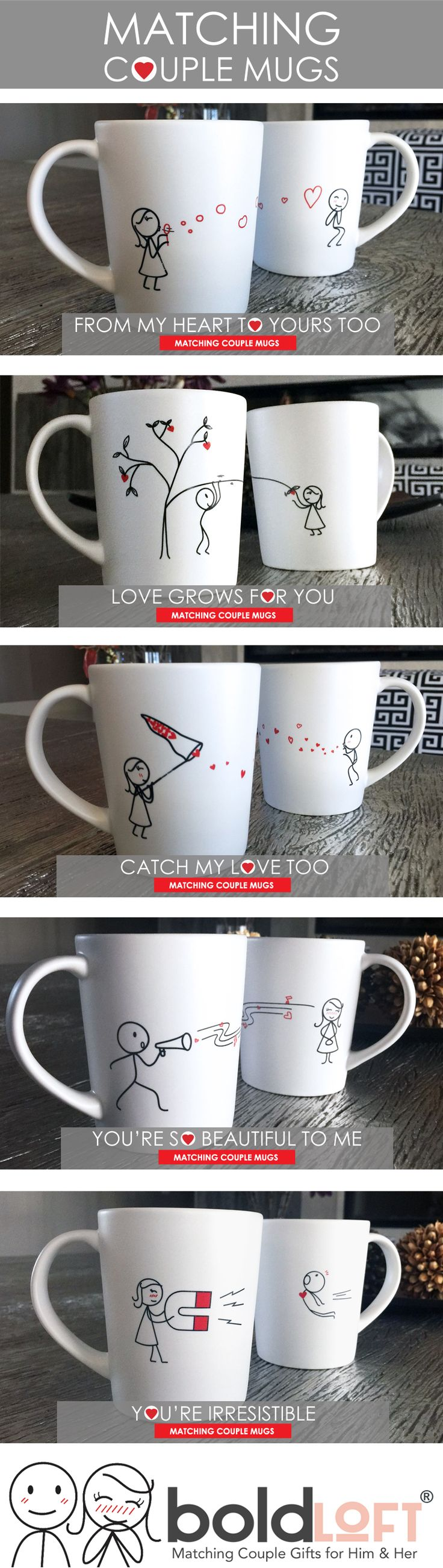 Matching Couple Mugs from BoldLoft. Boldloft's love-filled his and hers couple coffee mug set will go to work for you as your loved one's daily reminder that your heart is overflowing with love just for them! #matchingcouplemugs