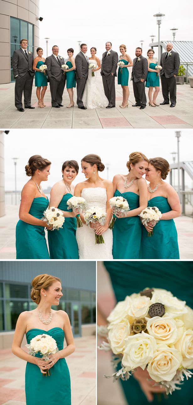LOVE THE TEAL DRESSES AND PEARL BIB NECKLACES!!! NECLACES GREAT GIFT FOR BRIDESMAIDS>>>> LC072514