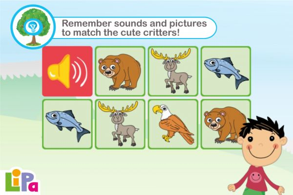 Memory Game with a Fun Twist...  Lipa Pairs is a fun matching game designed to develop your child's science skills by engaging different key centres of their developing young brain. Using intuitive gameplay matching both image to image and image to sound, Lipa Pairs provides children with the ability to recognize animals by name and appearance.  Recommended age: .3-5 years