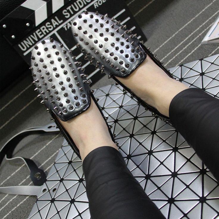 European Grand Prix 2016 spring new round color gradient nail rivet flat shoes lazy shoes