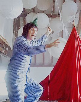 Noel in jammies! (And a party hat. :))