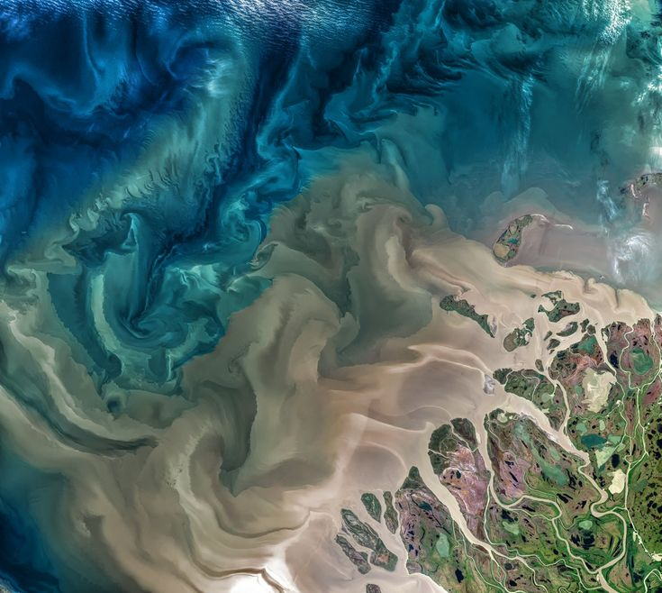 This is an image of the Mackenzie River in Canada, taken from a NASA/USGS satellite earlier this year. The river plays a major role in modulating the Arctic's climate, as warmer fresh water mixes with colder seawater.
