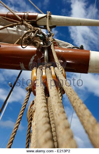 Block and Tackle on a ship | Block And Tackle Stock Photos & Block And Tackle Stock ...