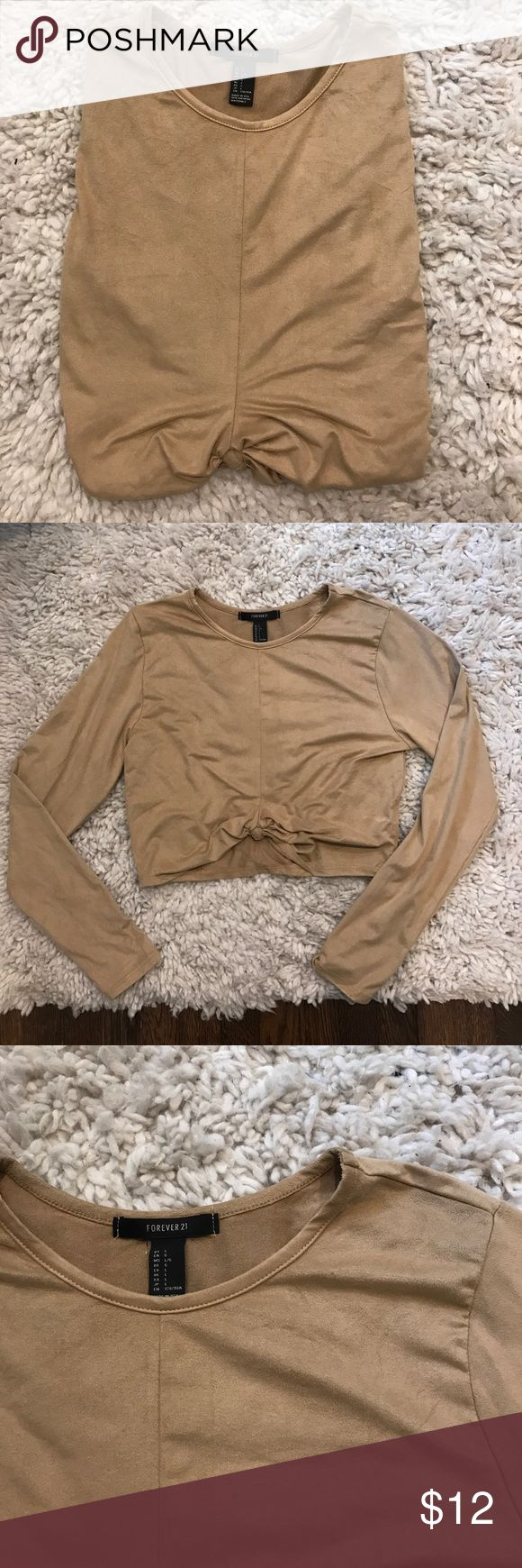 Forever 21 camel crop knot top Faux suede - awesome knotted crop top for any occasion Forever 21 Tops Crop Tops