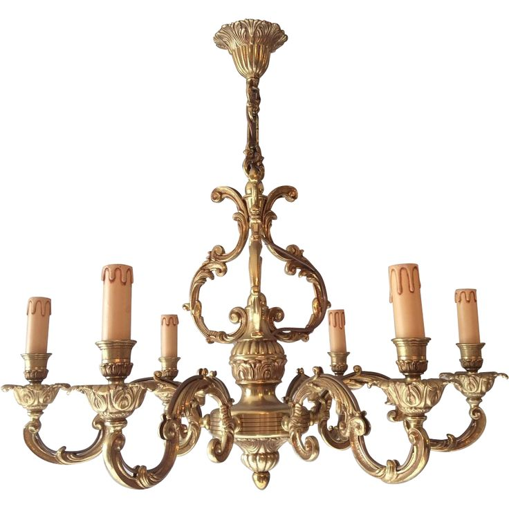 French bronze chandelier with 6 arms in Louis XV style offered by The Luxury French Collection a Ruby Lane Shop