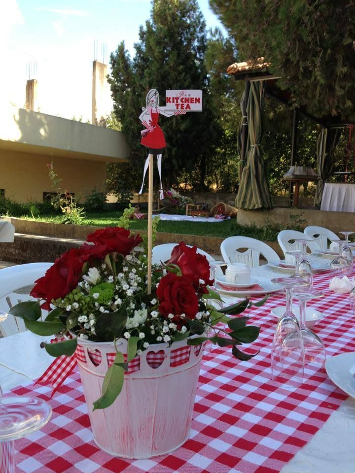 #picnic #kitchentea #party #red #white #banner #decoration #table #buffet #handmade #homedecor #diy #crafts #ideas #centerpieces