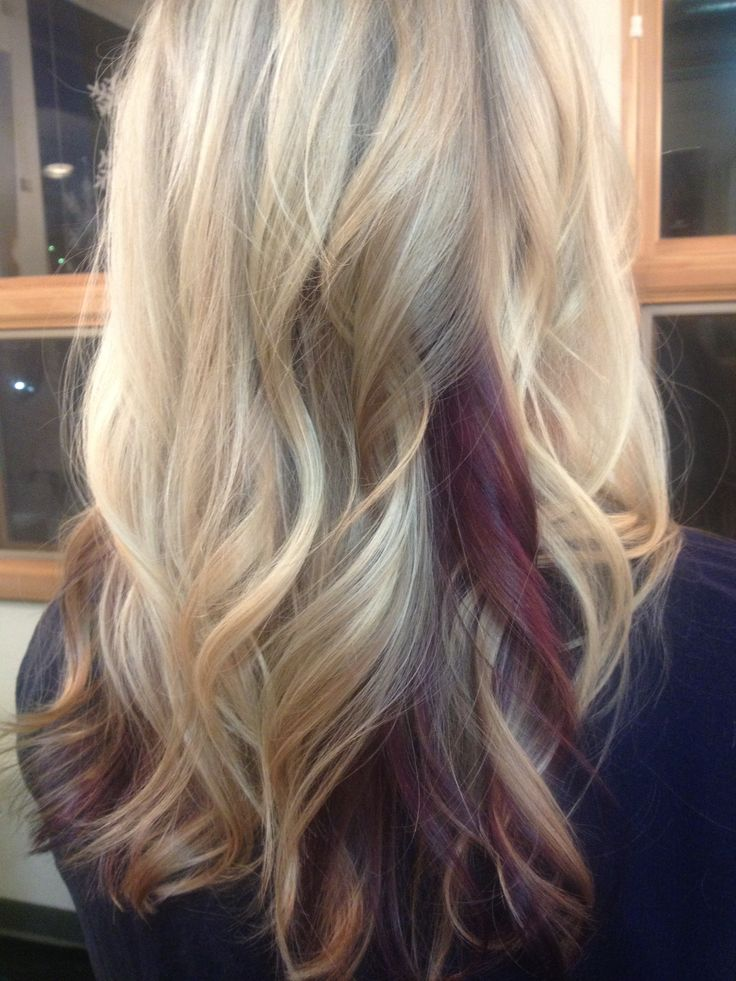"""This amazing blonde wanted some """"fun, yet professional color' we added a peek-a-boo pop of purple she can play up or keep hidden. Making great hair days at Crimson HairArt Studio!"""