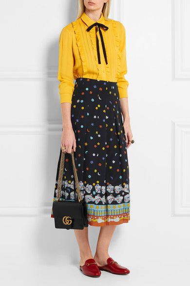 Gucci - Pleated Printed Silk Crepe De Chine Midi Skirt - Black - IT40