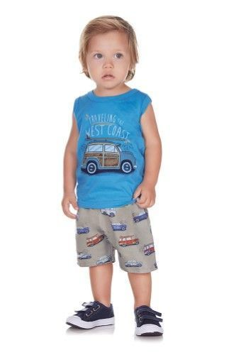 c3134f441 Pulla Bulla Baby Boy 2-Piece Set Tank Top and Shorts Outfit 6-9 ...