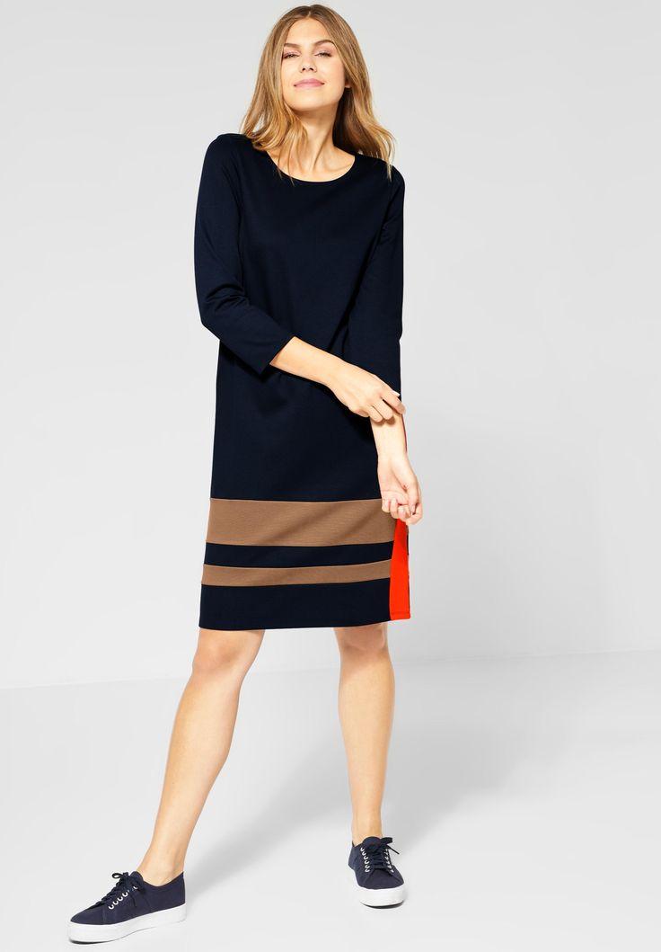street one midi kleid mit colorblock in gentle brown kleider